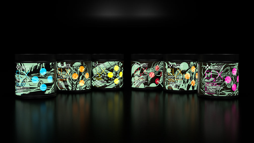 Six black tubs of E-Sports Nutrition ELX Energy Elixir in a line on a black background show illustration on the packs that reveal under Blacklight UV