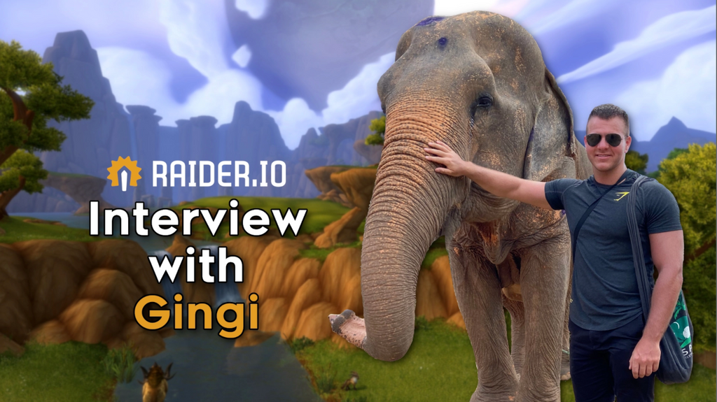 E-Sports Nutrition Gingi interview with Raider.io with Gingi with his spirit animal an elephant