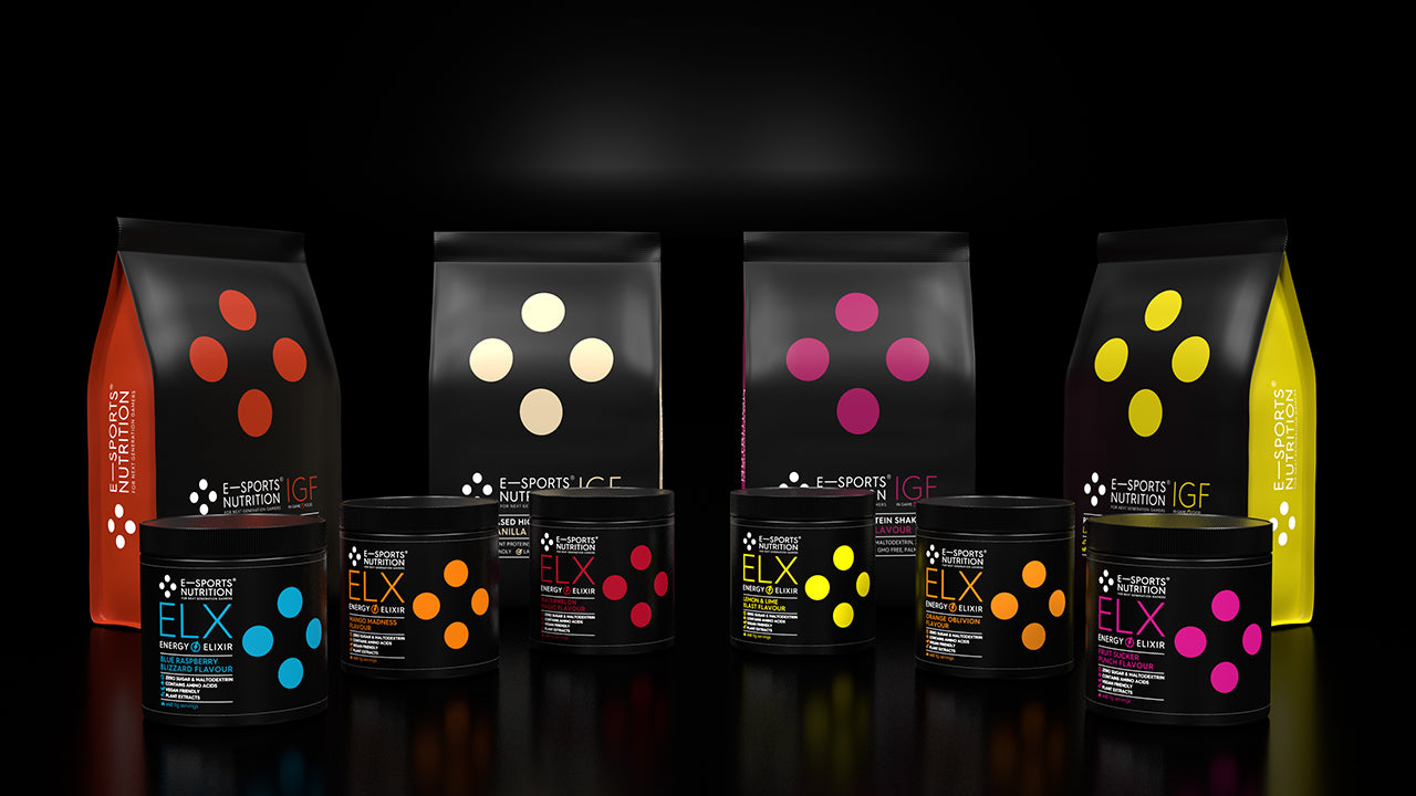 A set of E-Sports Nutrition products, six ELX Energy Elixirs energy formulas and four IGF (In Game Food) plant based shake mix meal on a black background