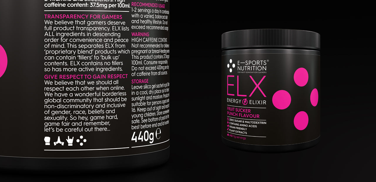 A tub of E-Sports Nutrition ELX Energy Elixir (Fruit Sucker Punch flavour) energy formula  for esports highlighting E-Sports nutrition Transparency for Gamers and Give Respect to Gain Respect statements that feature on every E-Sports Nutrition product pack