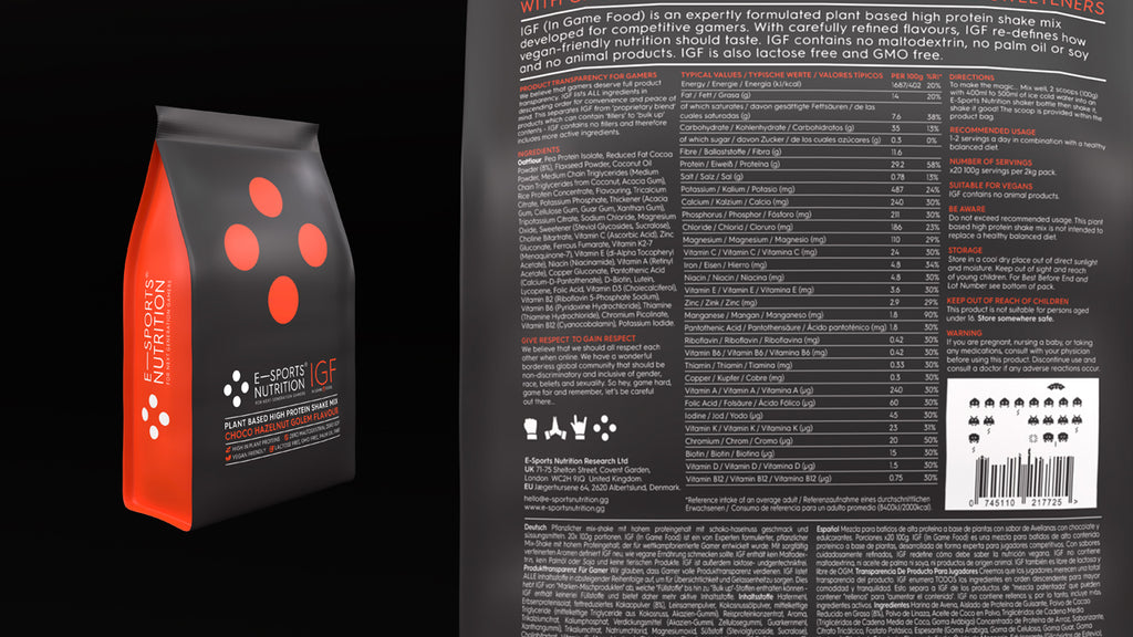 A close up picture of the back of a bag of E-Sports Nutrition IGF (In Game Food) on a black background showing ingredient lists and nutritional tables