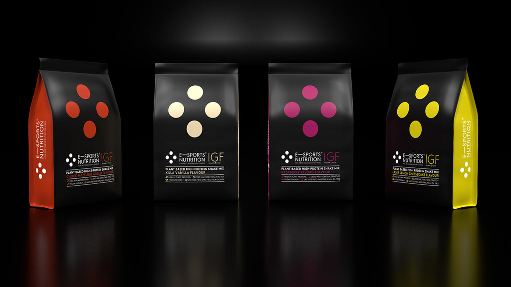 Four bags of E-Sports Nutrition launch flavours for IGF In Game Food on a black background