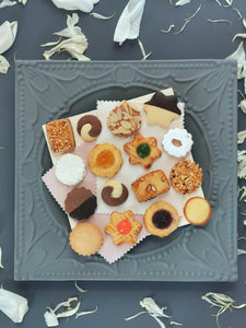 Very fine shortbread biscuits in tray