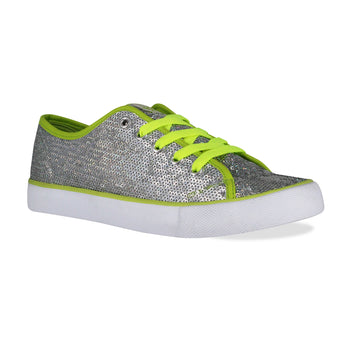 Gotta Flurt Women's Pizzazz Silver/Lime Sequin Dance Sneaker