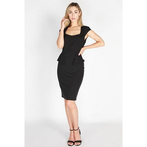 Becky Peplum Dress Black