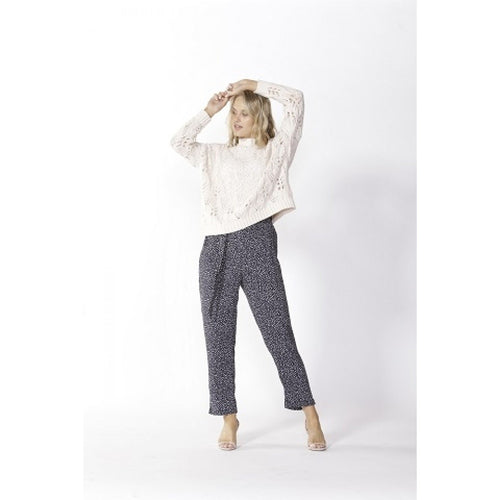 Lisbon Tapered Pant Navy Polka Dot