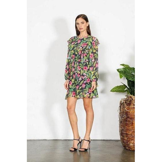 Element Floral Long Slv dress Black