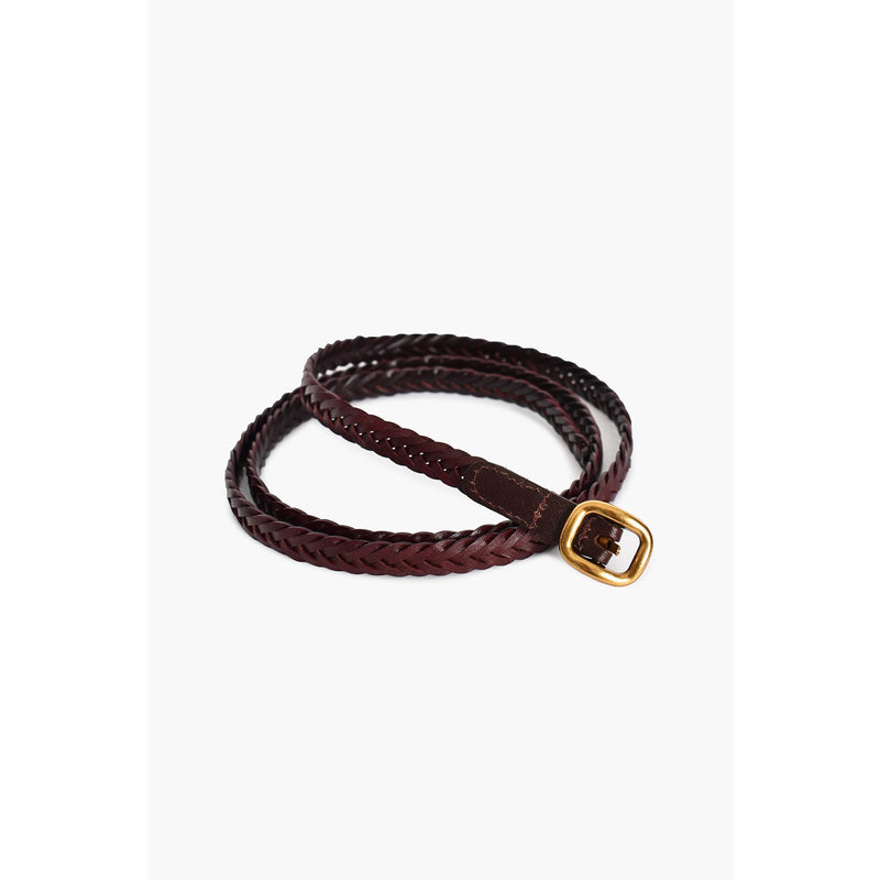 Thin Leather Plait Belt Chocolate