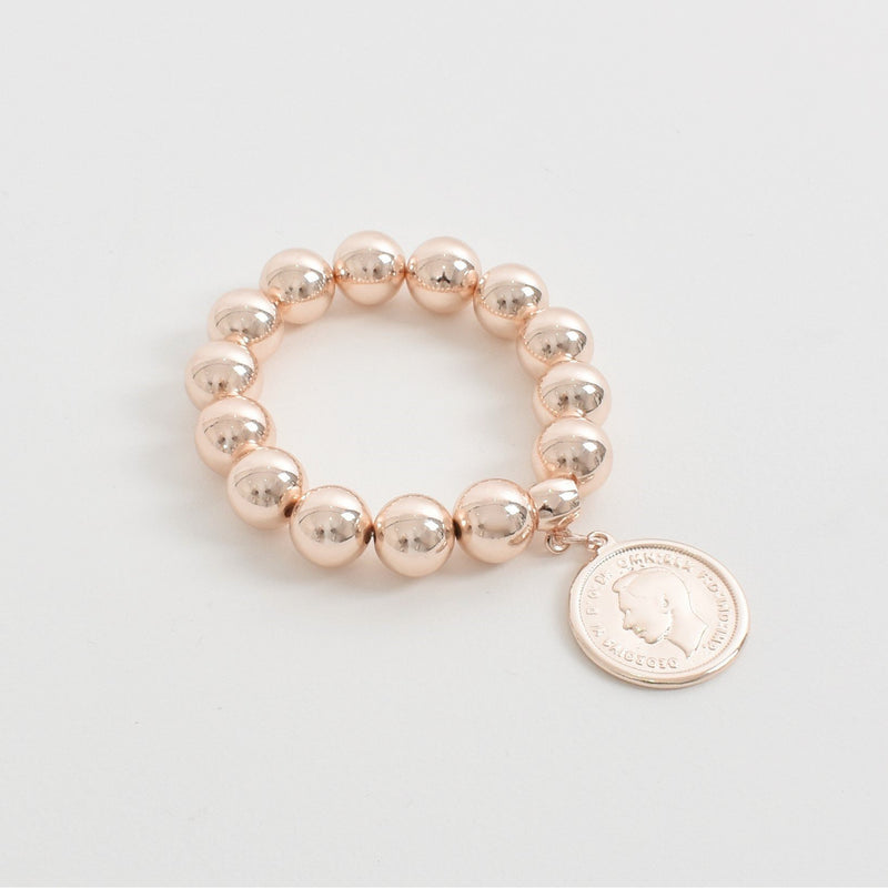 Coin Charm Large Metal Ball Bracelet Rose