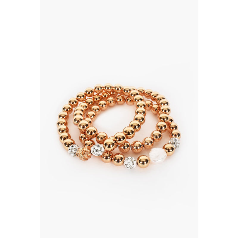 Trio Ball Diamante Pearl Stretch Bracelet - Gold/Crystal