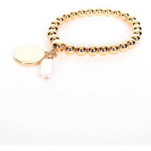 Disc & Pearl Stretch Bracelet Gold