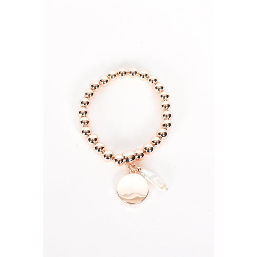 Disc & Pearl Stretch Bracelet Rose