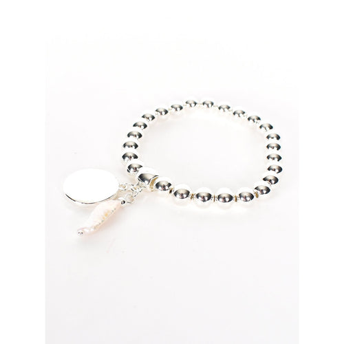 Disc & Pearl Stretch Bracelet Silver