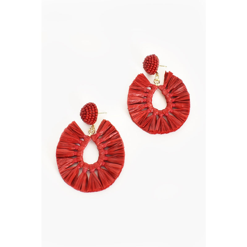 Viva Raffia Beaded Earring Red
