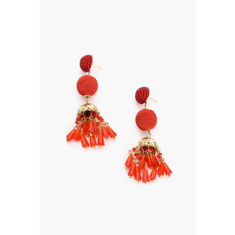 Bead Droplet Earring Red