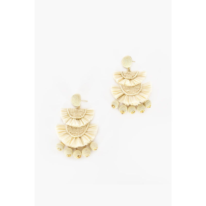 Mini Bead Layered Fringe Earrings - Natural