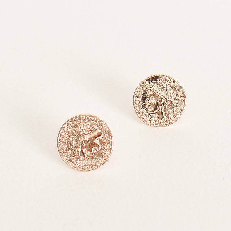 Wreath Coin Stud Earring Gold