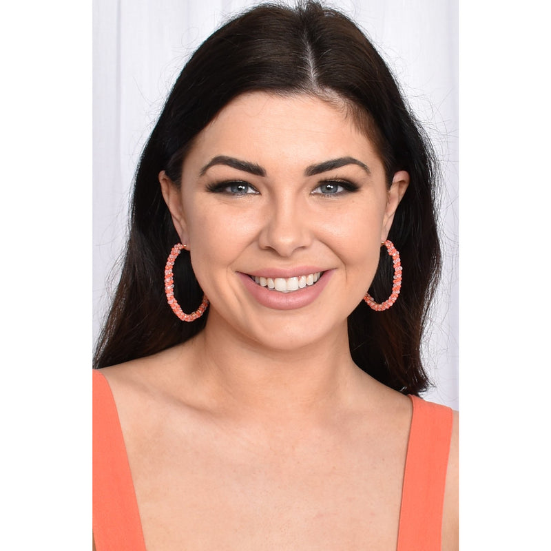 Double Row Bead Hoop Earring Orange