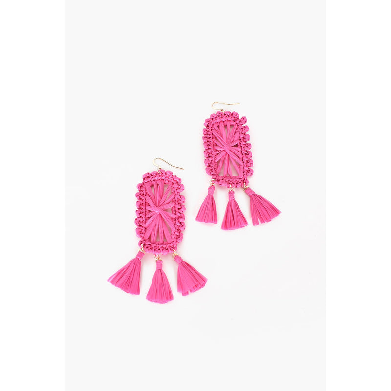Raffia Rectangle Tassel Drop Earrings - Hot Pink