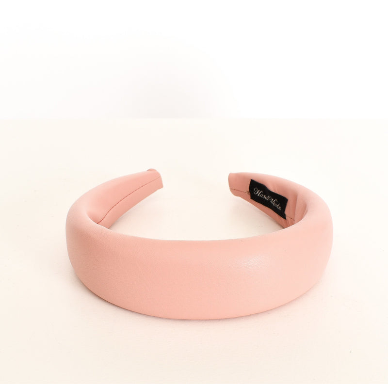Faux Leather Padded Headband Pale Pink