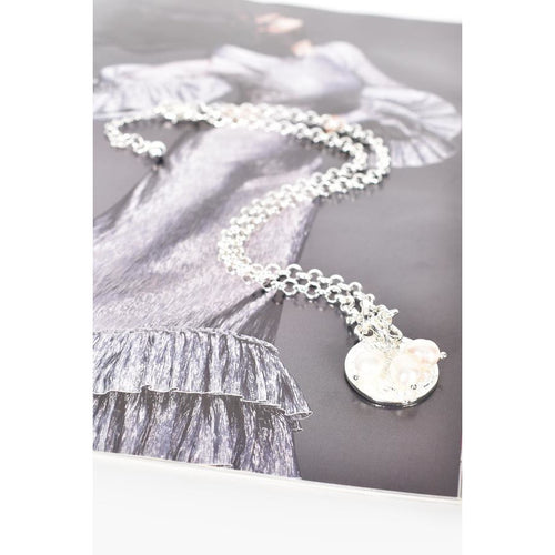 Pearl Cluster Coin Necklace Silver