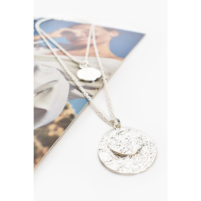 Double Layer Disc Long Necklace - Silver