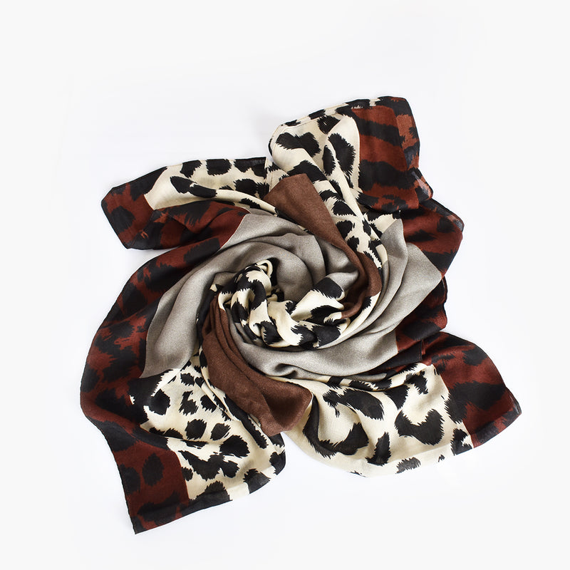 Abstract Animal Print Scarf Grey