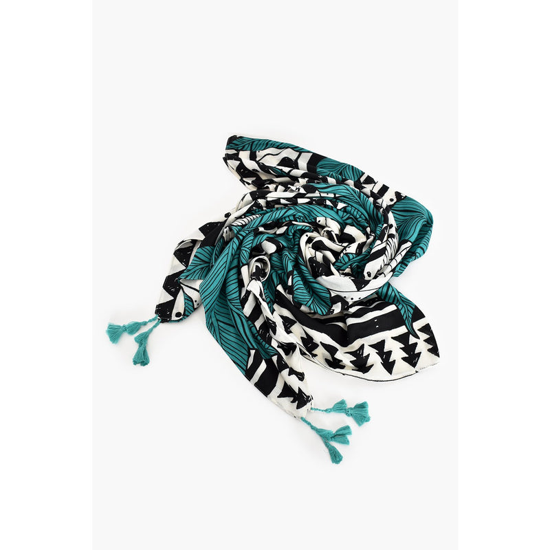 Palm & Abstract Pattern Tassel Scarf Teal