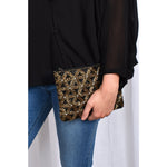 Beaded Daisies Zip Top Clutch Black