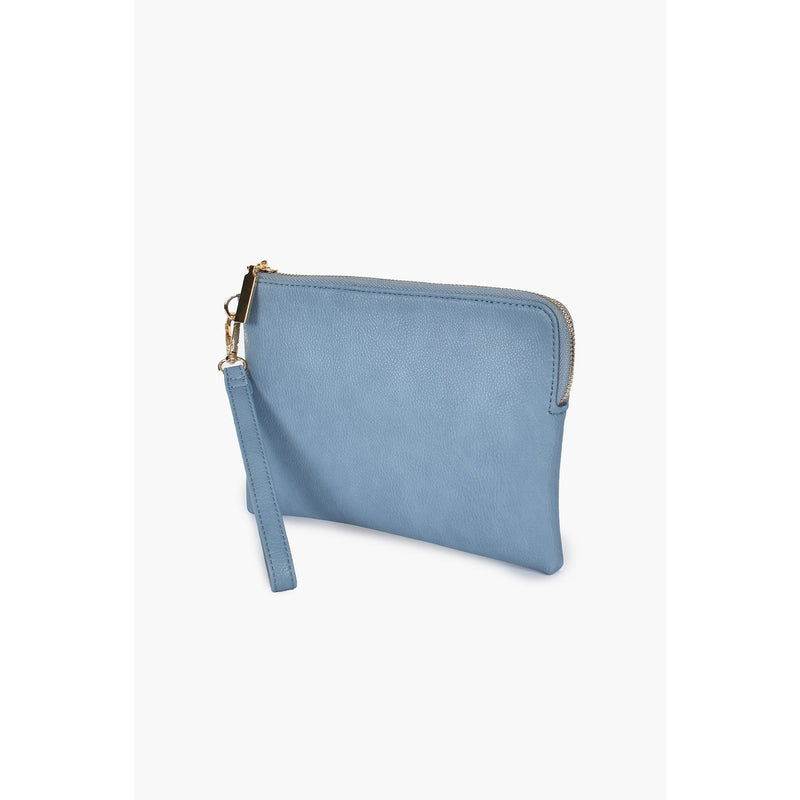 Becca Vegan Leather Corner Zip Pouch - Blue