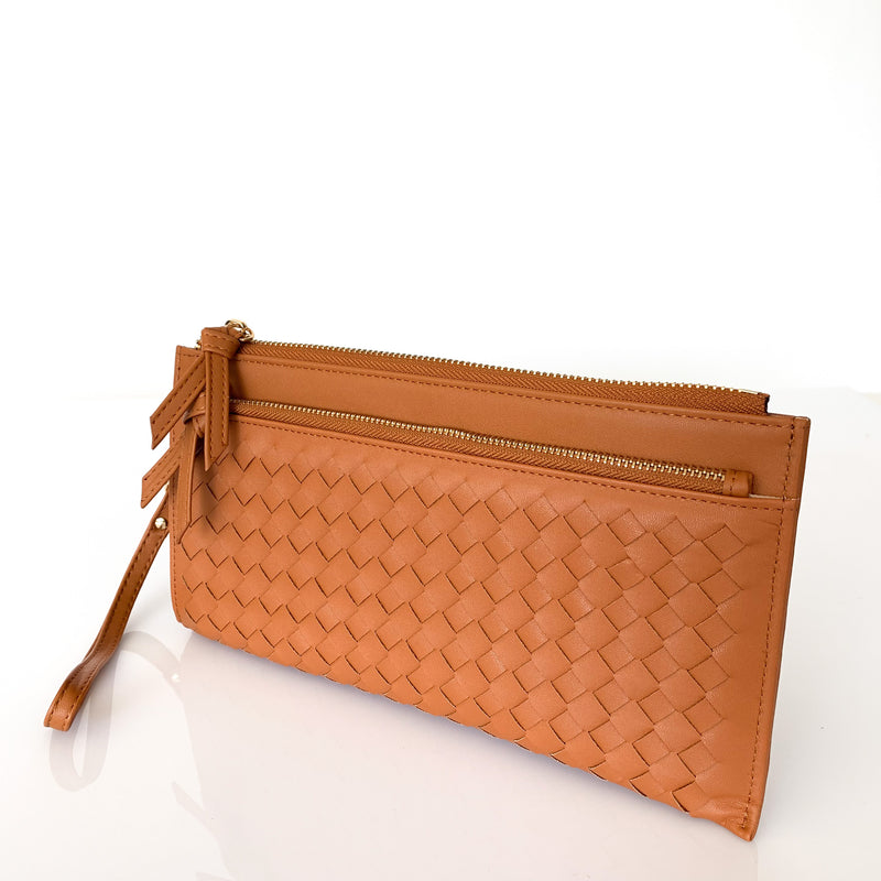 Double Zip Weave Wallet Tan