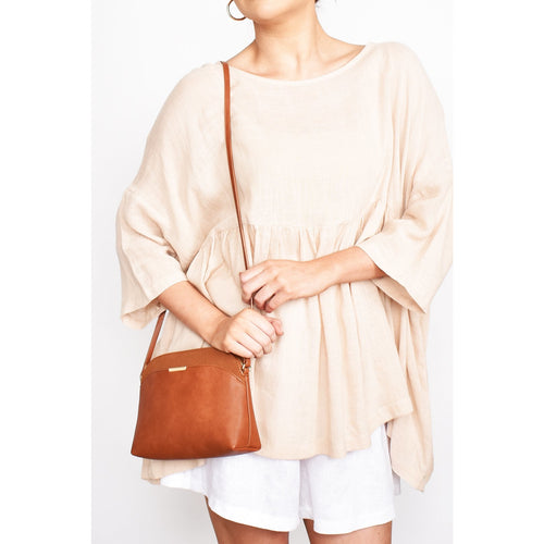 Cynthia Curved Top Crossbody Bag Tan