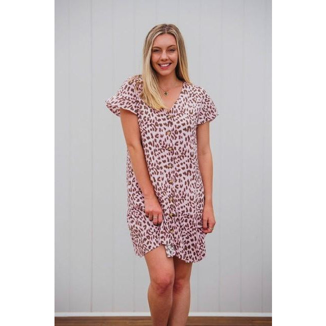 Abby Leopard Button Front Dress Pink