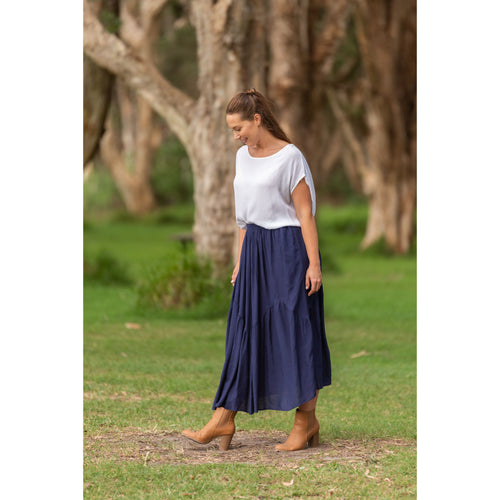 Amina Tier Skirt Navy
