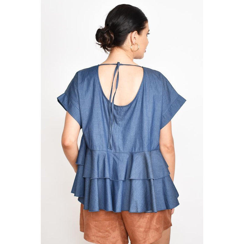 Ava Ruffle Top Denim