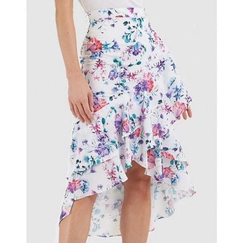 Blooming Floral Skirt White
