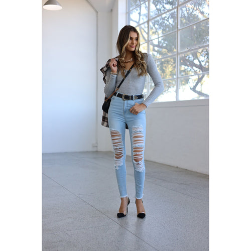 Callie Ripped Skinny Jean Light Blue