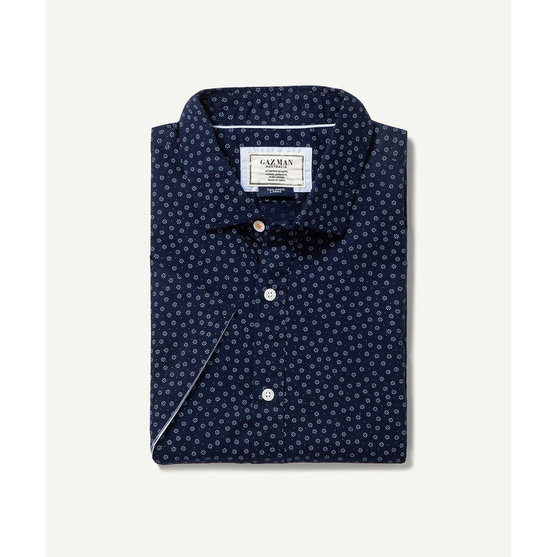 Casual Floral S/S Shirt Navy