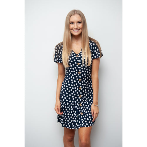 Desert Spot Button Front Dress Navy