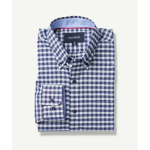 Easy Care Oxford Shirt Navy Check