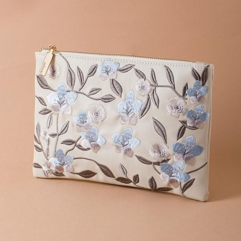 Embroidered Flower Garden Zip Top Clutch Stone