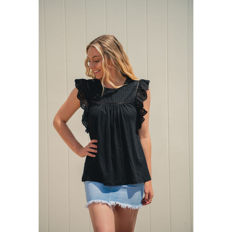 Eme Broderie Top Black