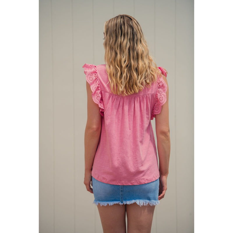 Eme Broderie Top Pink
