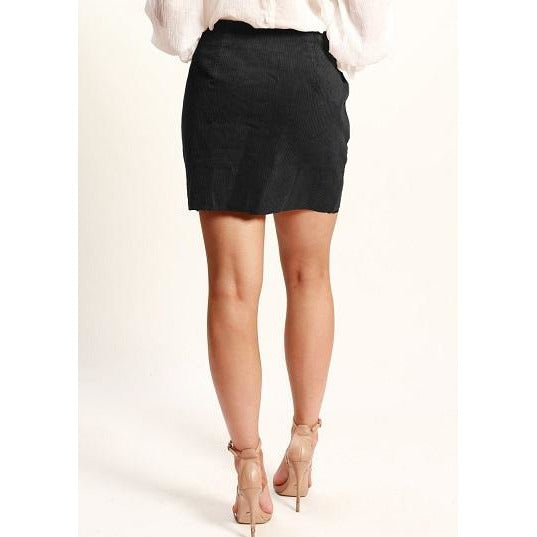Hailey Button Front Skirt Black