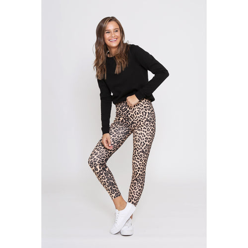 Hutton Leopard Jeggings Beige