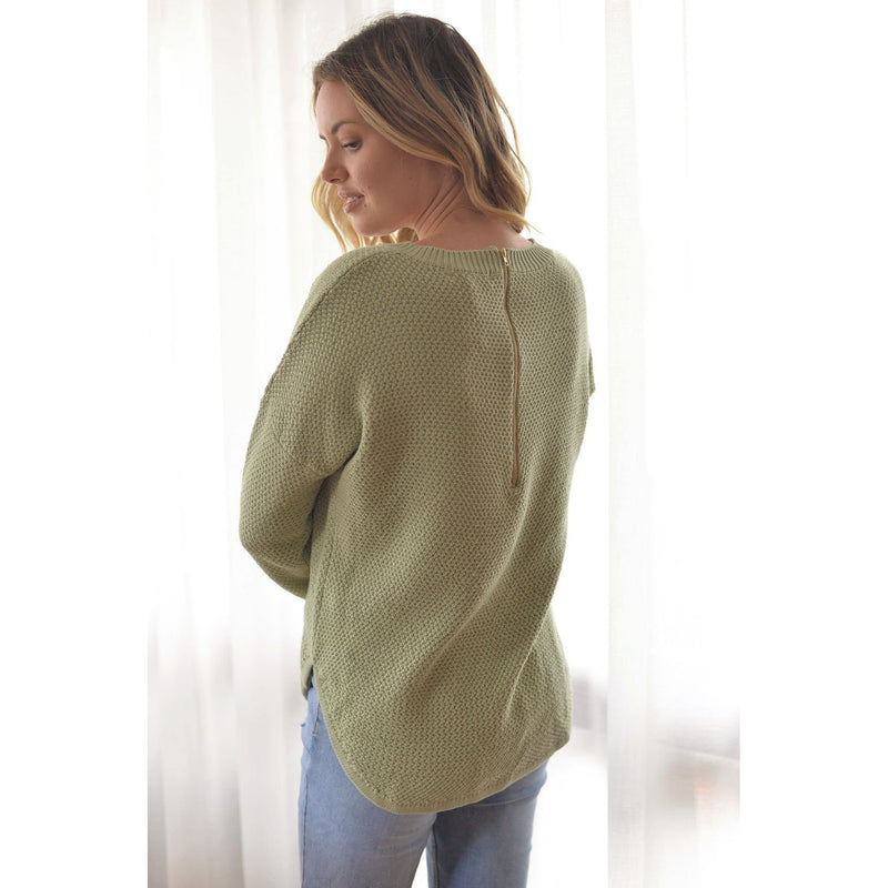 Libby Zip Back Knit Sage