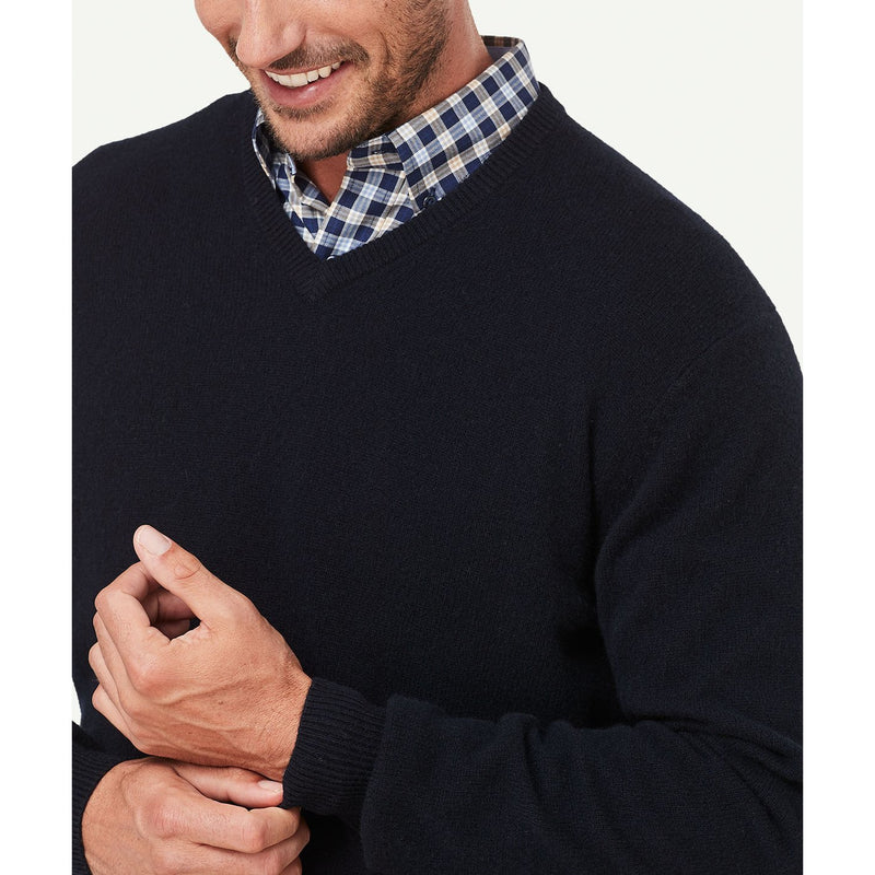 Lambswool V Neck Navy