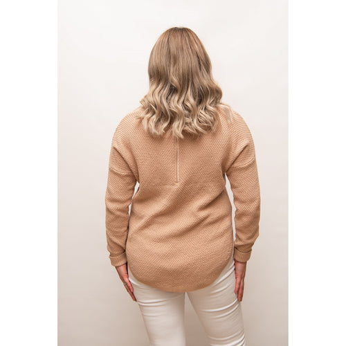 Libby Zip Back Knit Pale Peach