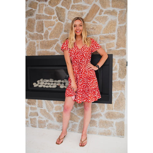 Lilly Leopard Mini Dress Red