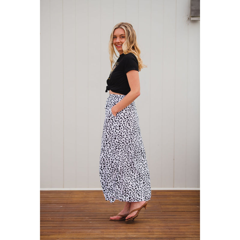 Lilly Leopard Skirt White